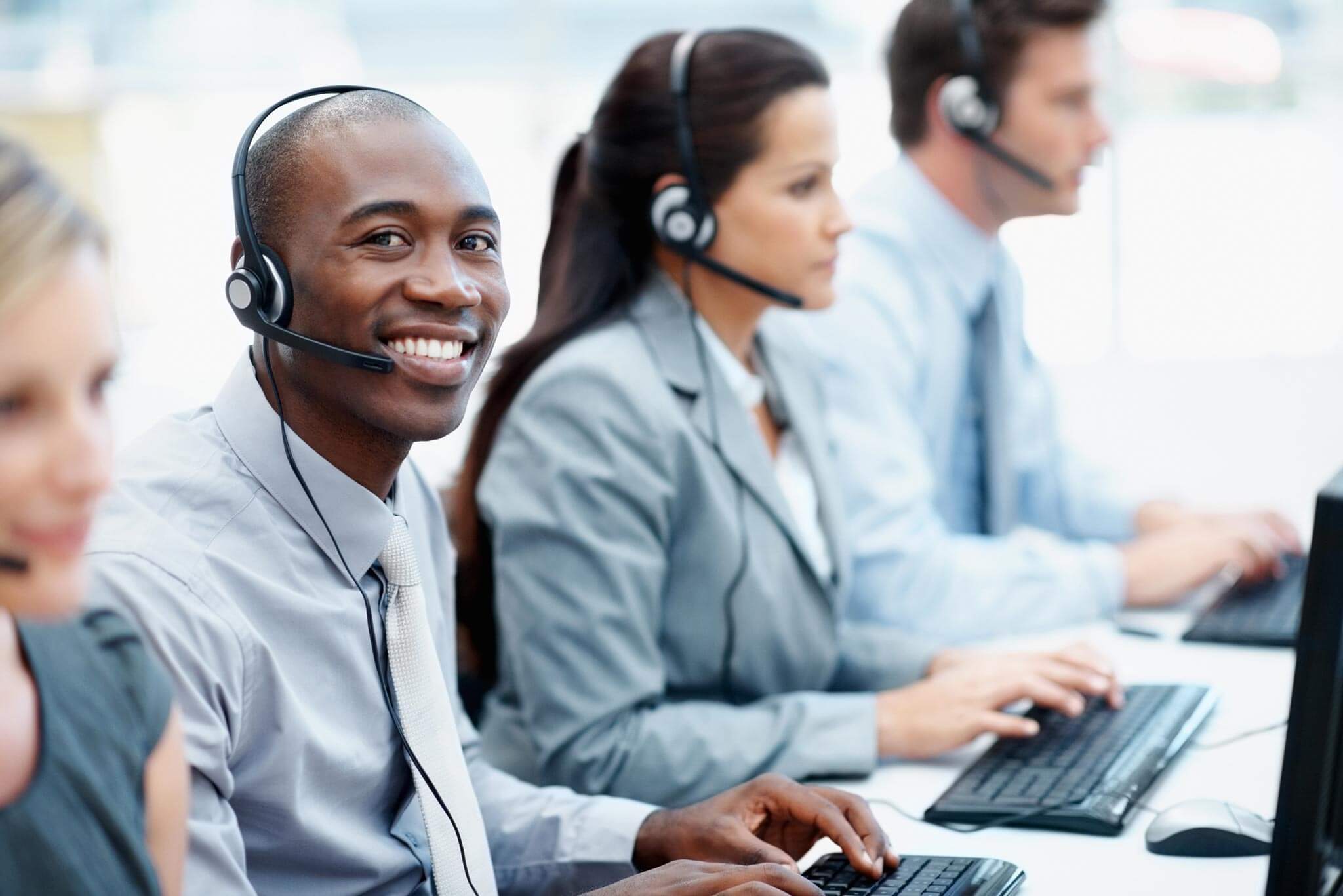 People working at a call centre
